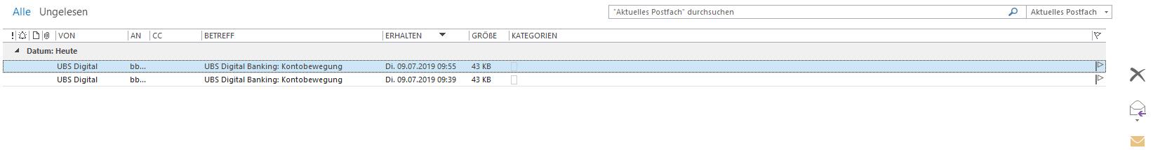 Ansicht-Einstellung Outlook 2016 mit Schnell-Löschfunktion