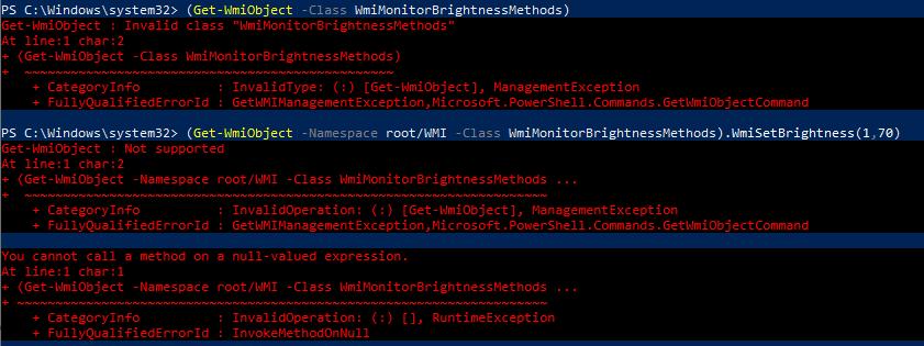 "Cannot change brightness: Get-WmiObject : Invalid class ""WmiMonitorBrightnessMethods"""