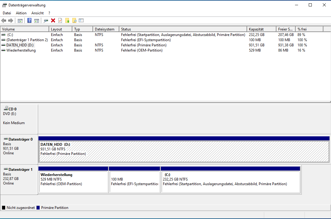 Systempartition auf Datenträger 1