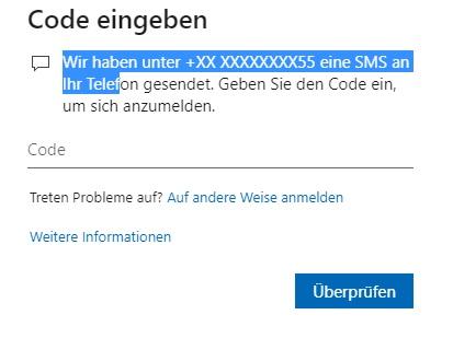 Sicherheitscode an falsche alte Telefonnummer, obwohl neue eingetragen ist.