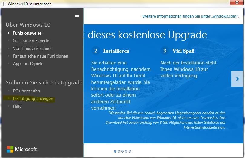 bitte um sofortige stornierung meiner Windows 10 Upgrade reservierung