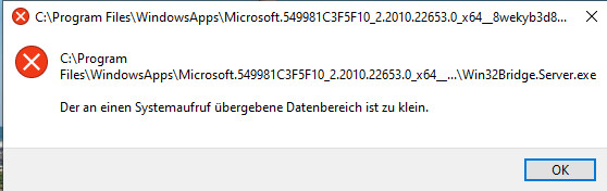 Fehlermeldung Win32Bridge.Server.exe