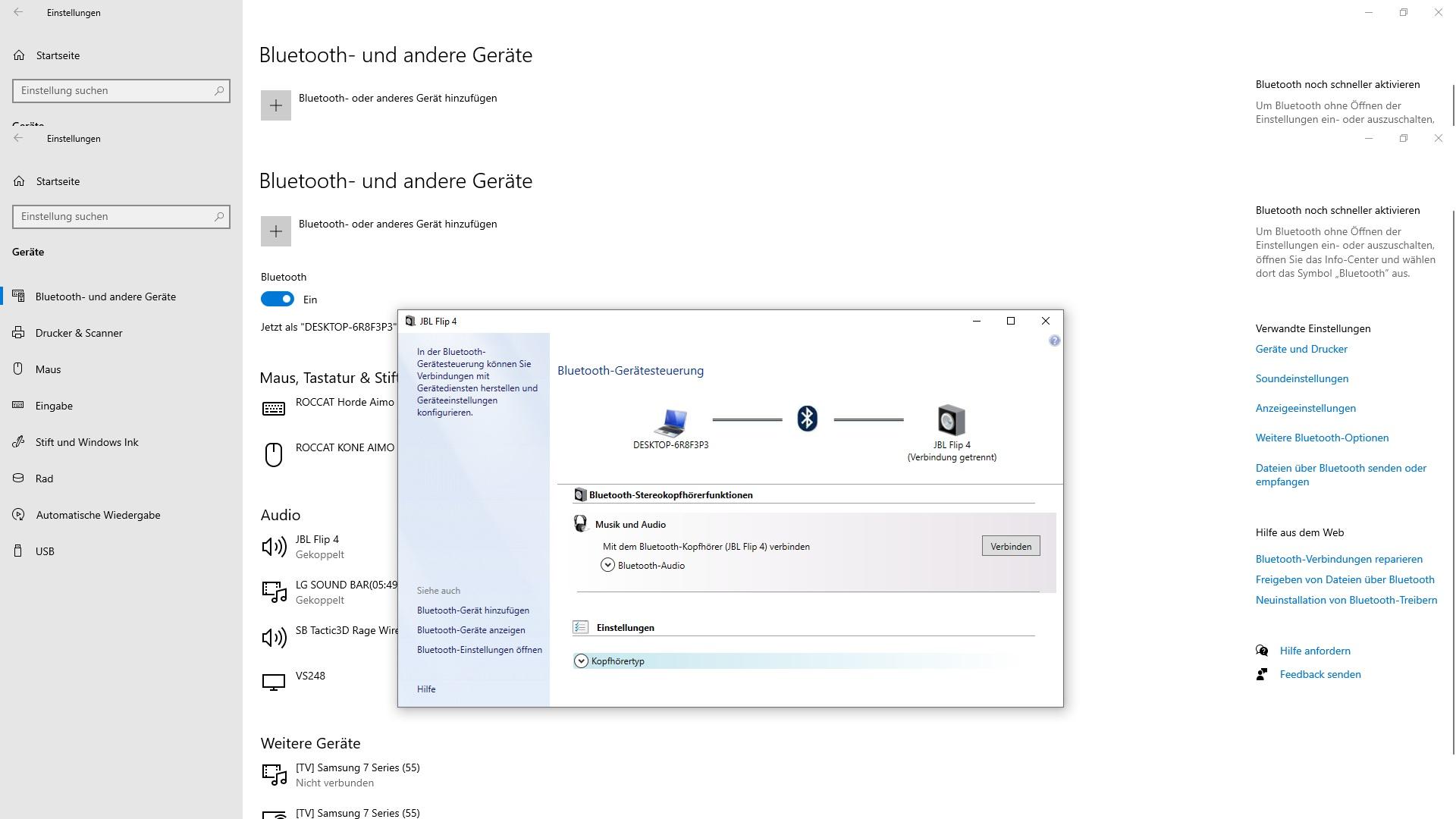 Bluetooth Soundbar und JBL Flip 4 wird nicht Verbunden