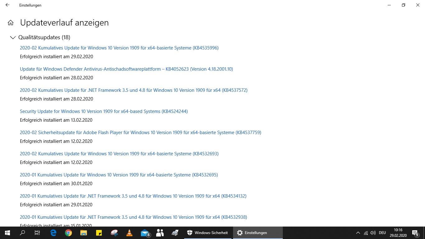 Probleme mit den Updates KB 4524244 u. KB 4532693