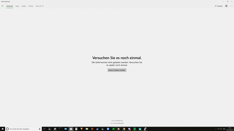 Microsoft Store Spiele Seiten laden nicht