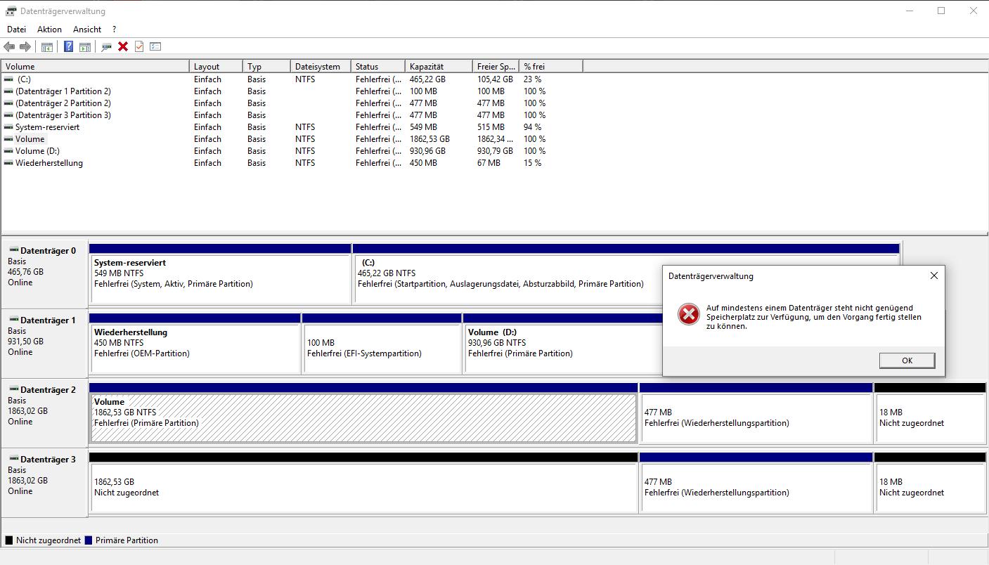 Datenträgerverwaltung - Volume spiegeln -> Fehler