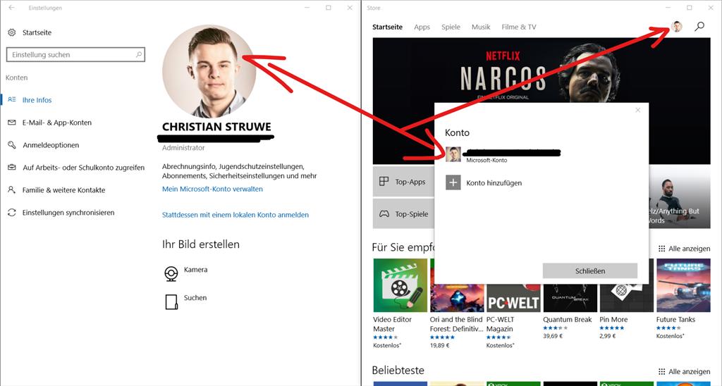 Synchronisation Microsoft Account Profilbild (in Edge Browser) funktioniert nicht, Avatare ...