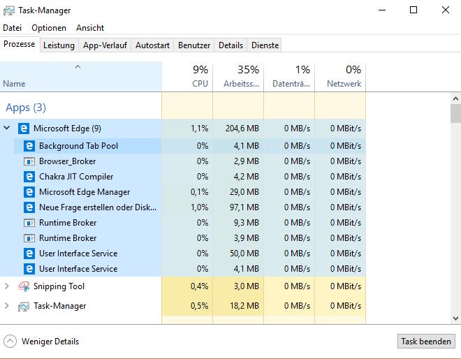 Microsft Edge im Taskmanager sieht merkwürdig aus.