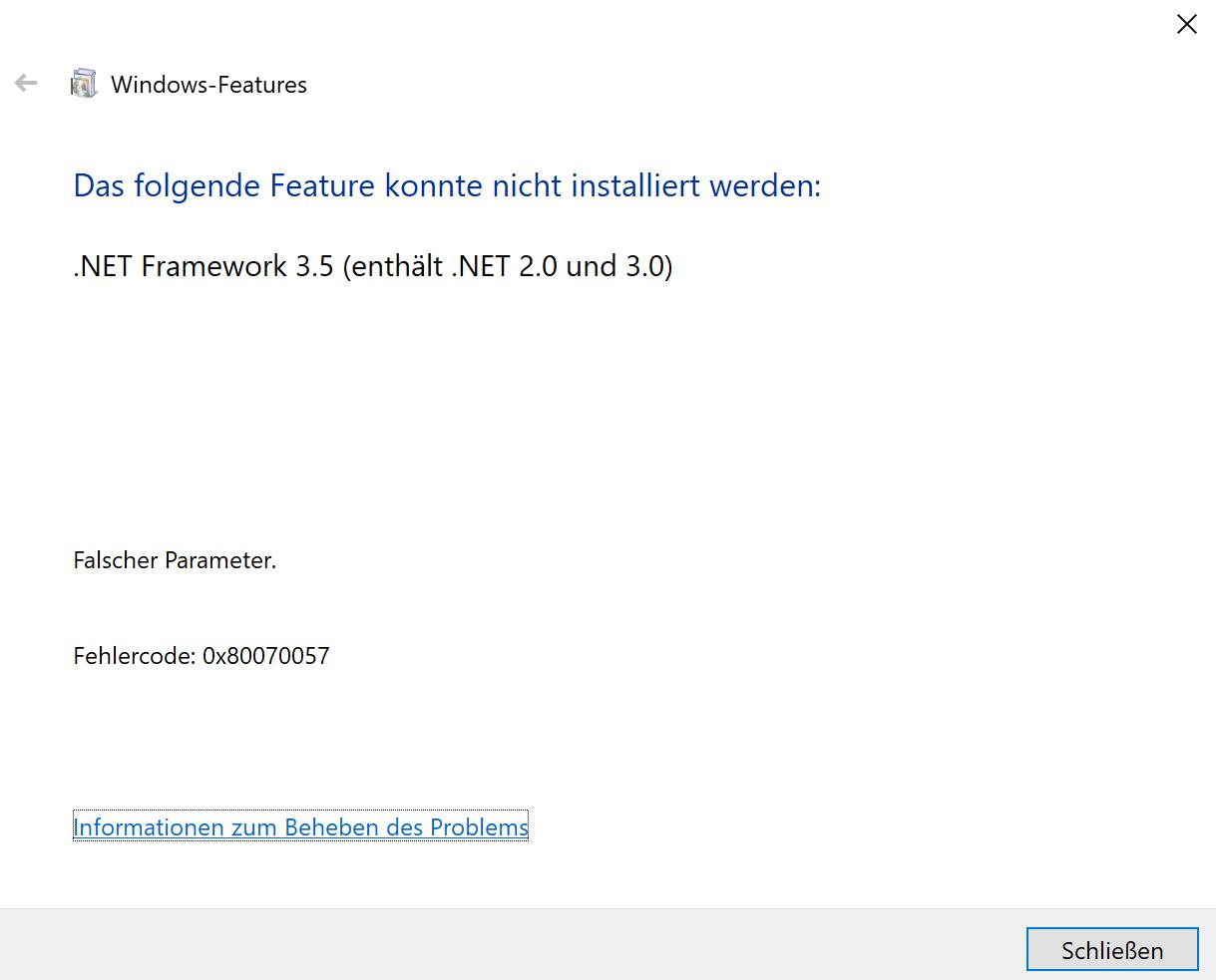 .Net Framework 3.5 auf dem Surface Pro installieren