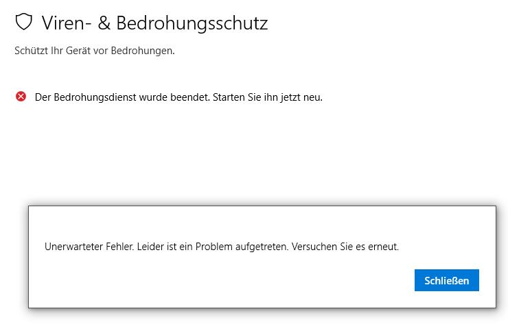 Windows Defender wurde beendet und lässt sich nicht neustarten