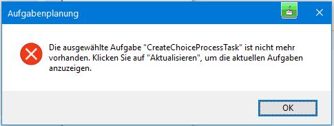 Meldung beim Start der Aufgabenplanung in Windows 10 1809 (17763.805)