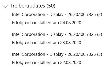 Intel Corporation - Display - 26.20.100.7325 Treiber wird nicht installiert