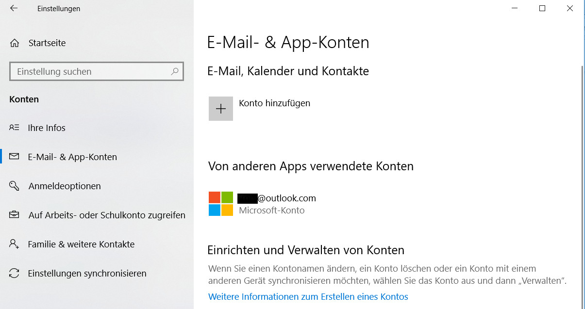 Windows 10 Info-Center sagt: Ihre Outlook-Kontoeinstellungen sind veraltet