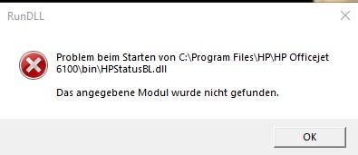 Problem beim Starten von C:\Program Files\HP\HP Officejet 6100\bin\HPStatus.BL.dll