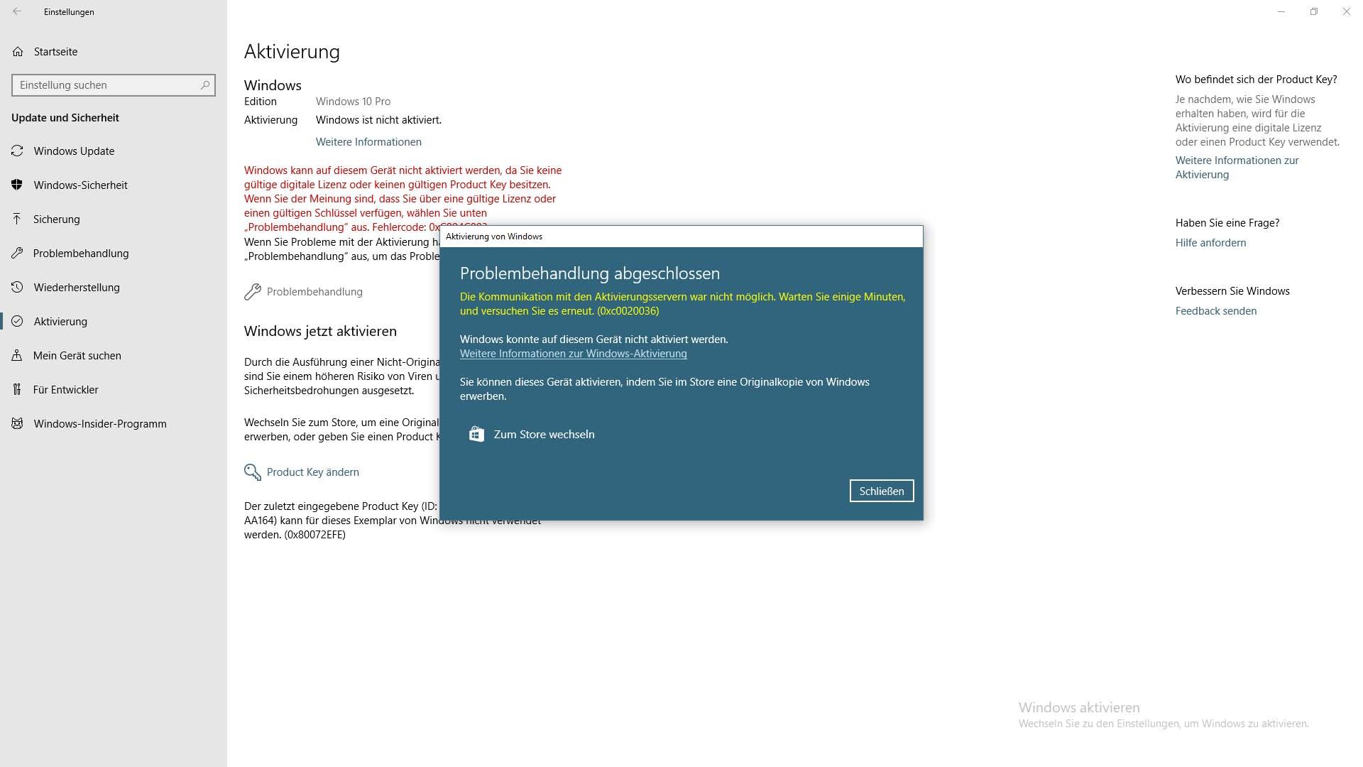 Windows 10 Pro Aktivierung plötzlich weg