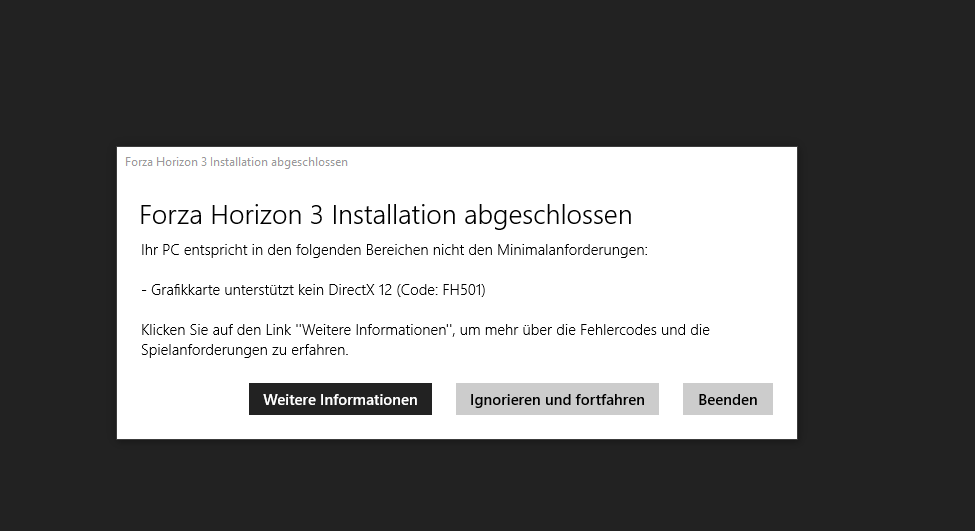 Forza Horizon 3 und 4 , Fehlercode: FH501