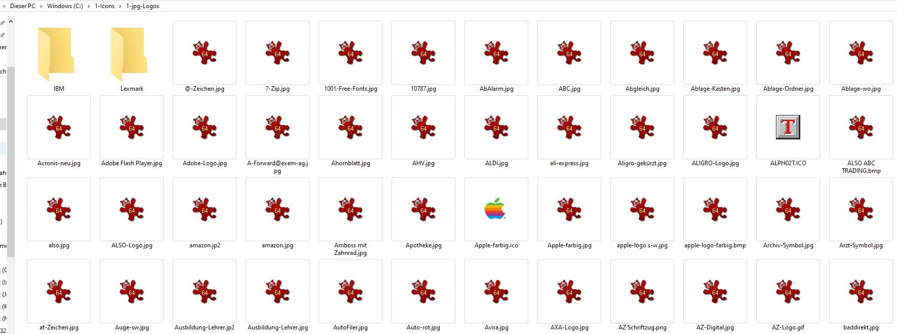 jpg-Files werden unterschiedlich dargestellt: einmal als Programm-Symbol (IrfanView) und...