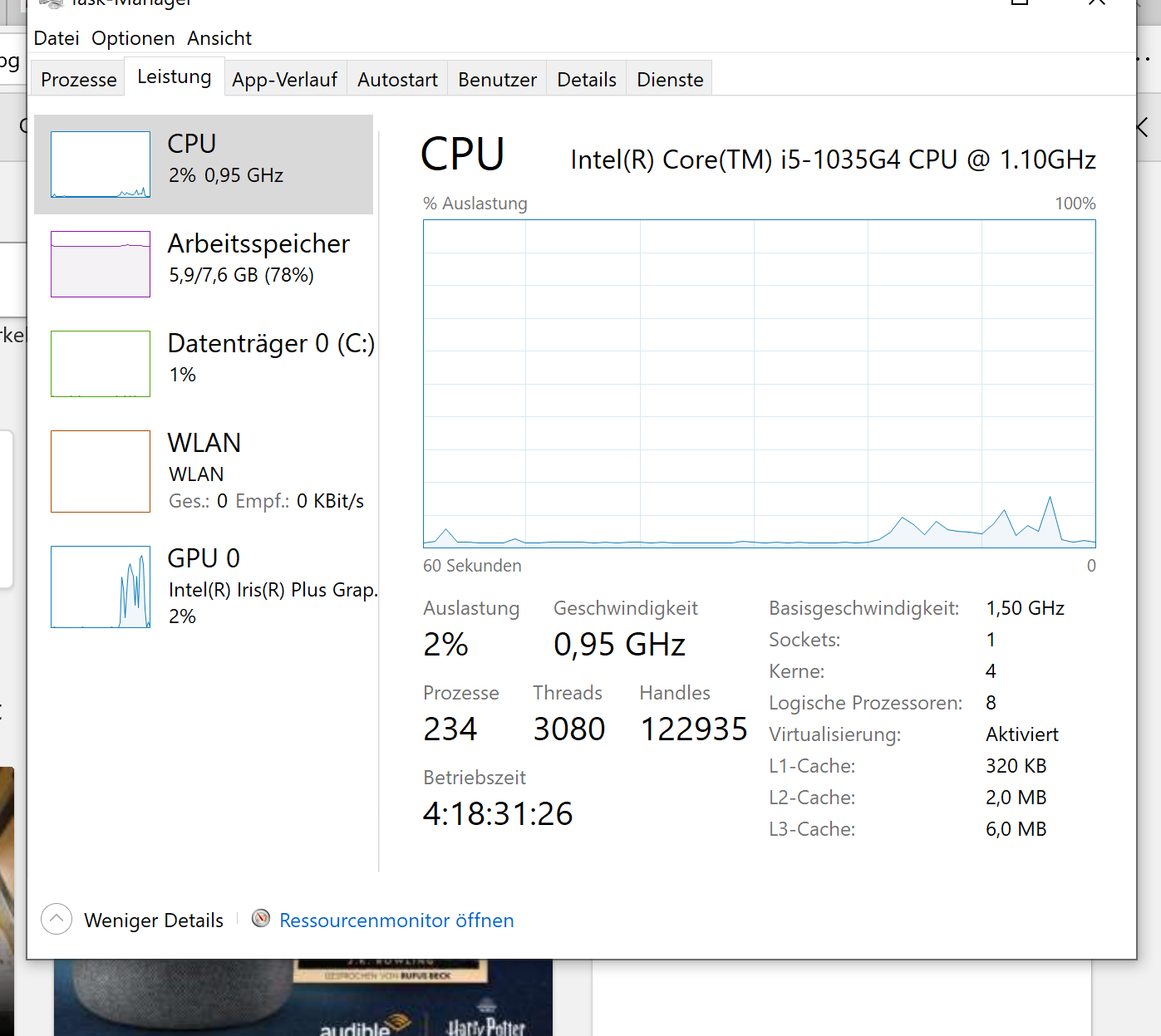 Surface Pro 7 bei geringem Akku langsam.