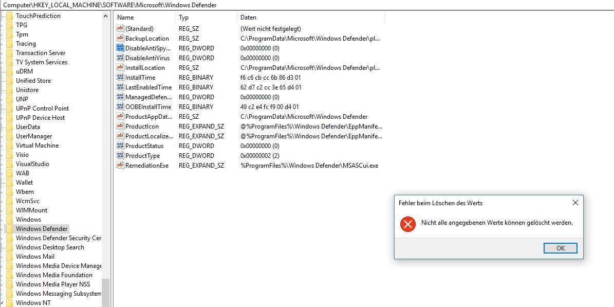 Ich habe etwas installiert und jetzt ist der Windows Defender deaktiviert.