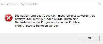 launcher.exe- Systemfehler