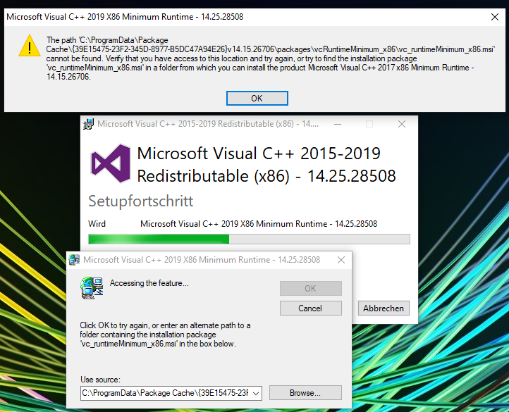 Windows 10 - Microsoft C++ 2015-2019 Redistributable x64 - 14.25.28508 Error