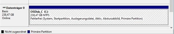 Datenträgerverwaltung nur eine Partition.