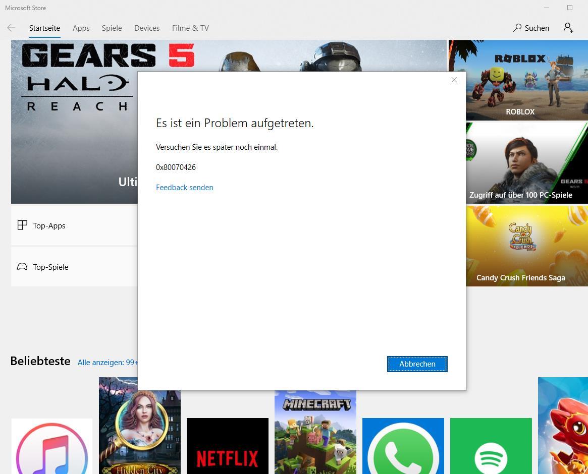 Microsoft Store Error/Slow - 0x80070426