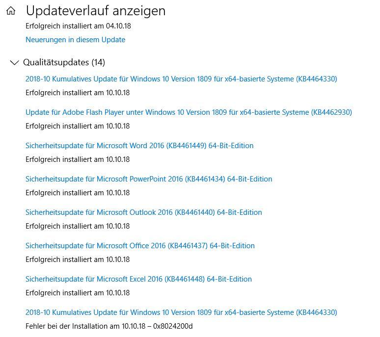 Windows 10 Pro (64 Bit) Version 1809 - Fehler bei Update-Installation am 10,10.2018 (KB6464330)