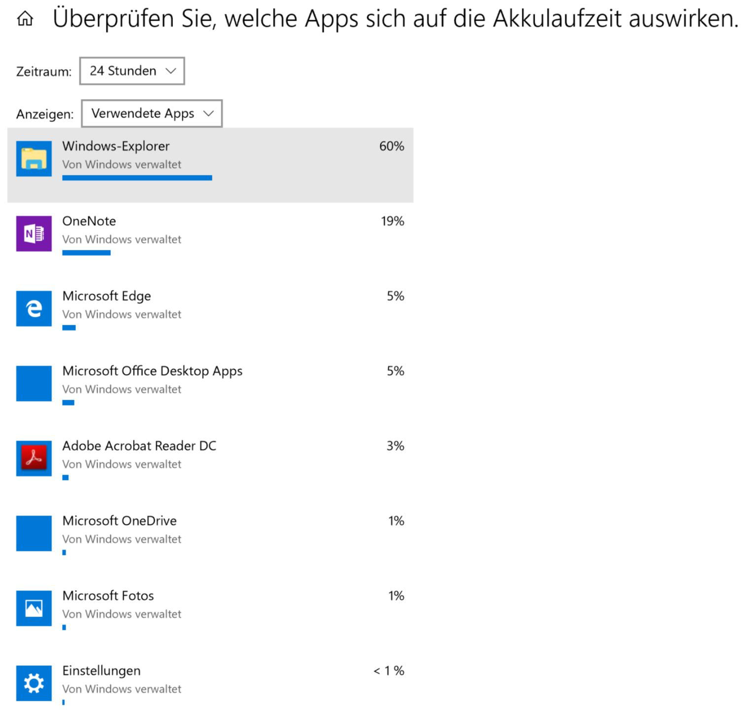 Akkulaufzeit, Windows-Explorer