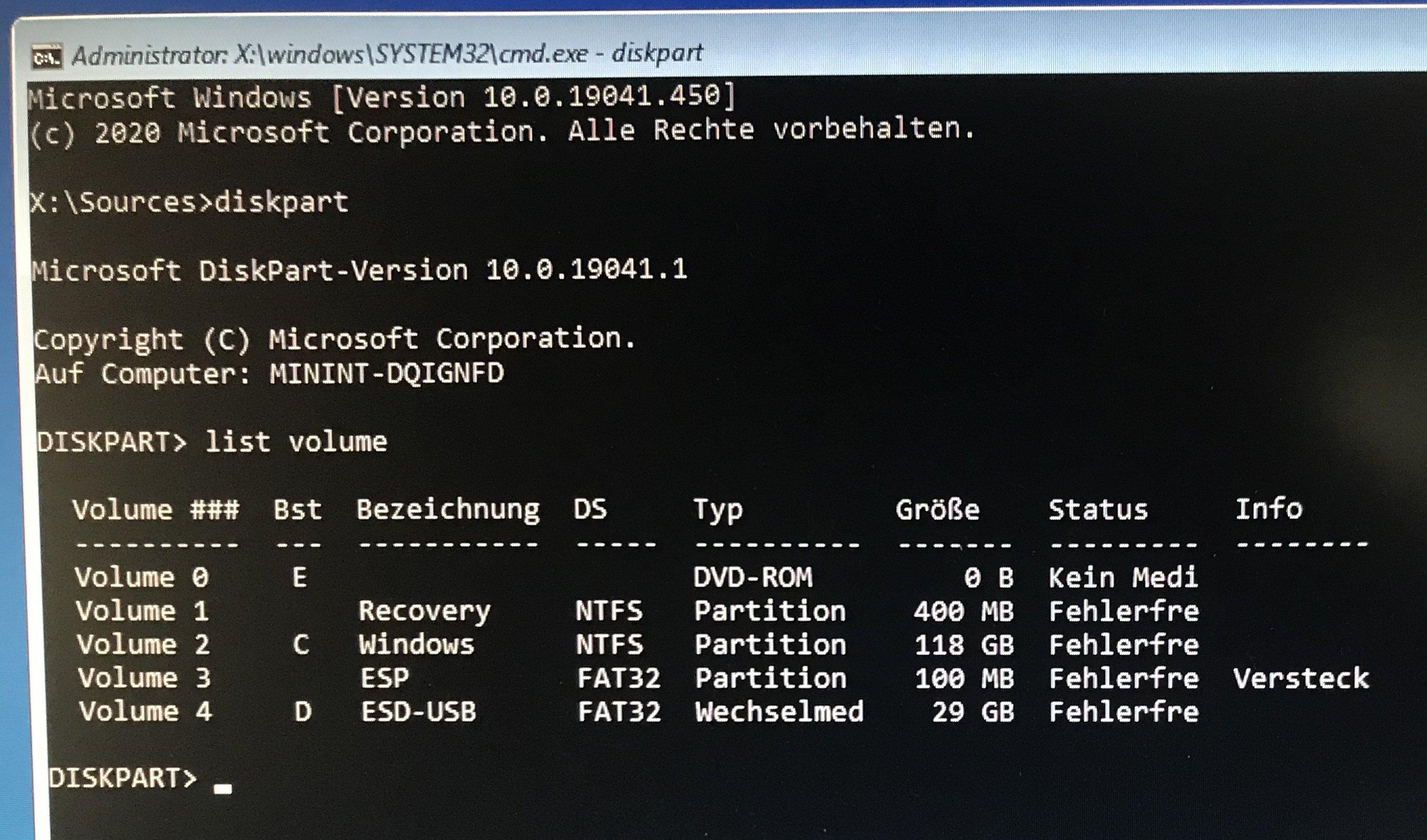 Bootprobleme: ESP Partition ist versteckt und C Platte ist nicht Startpartition