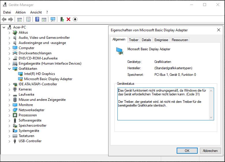 Windows 10/Problem - Fehlercode 31