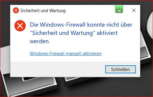 Bekomme die Defender Firewall nicht mehr aktiviert