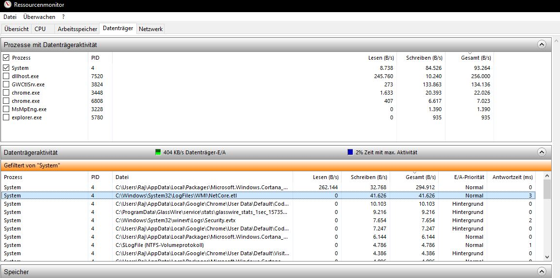 Information zu C:\Windows\System32\LogFiles\WMI\NetCore.etl