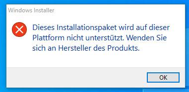 Dieses Installationspaket wird auf dieser Plattform nicht unterstützt.