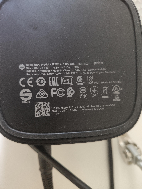 Universal USB C / Thunderbolt dock HP g2 120w