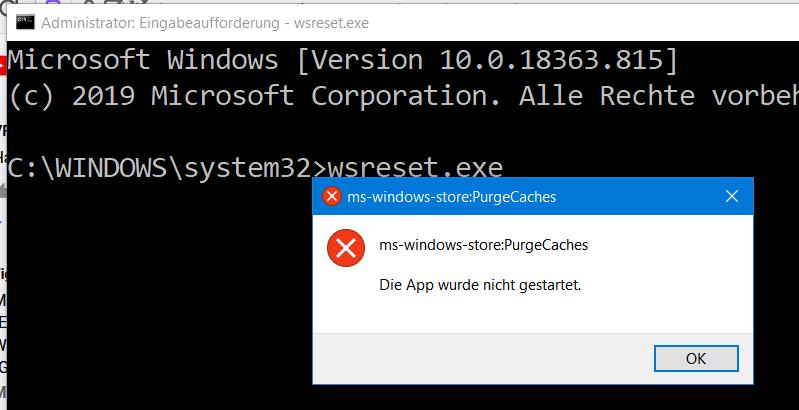 Microsoft Store öffnet nicht