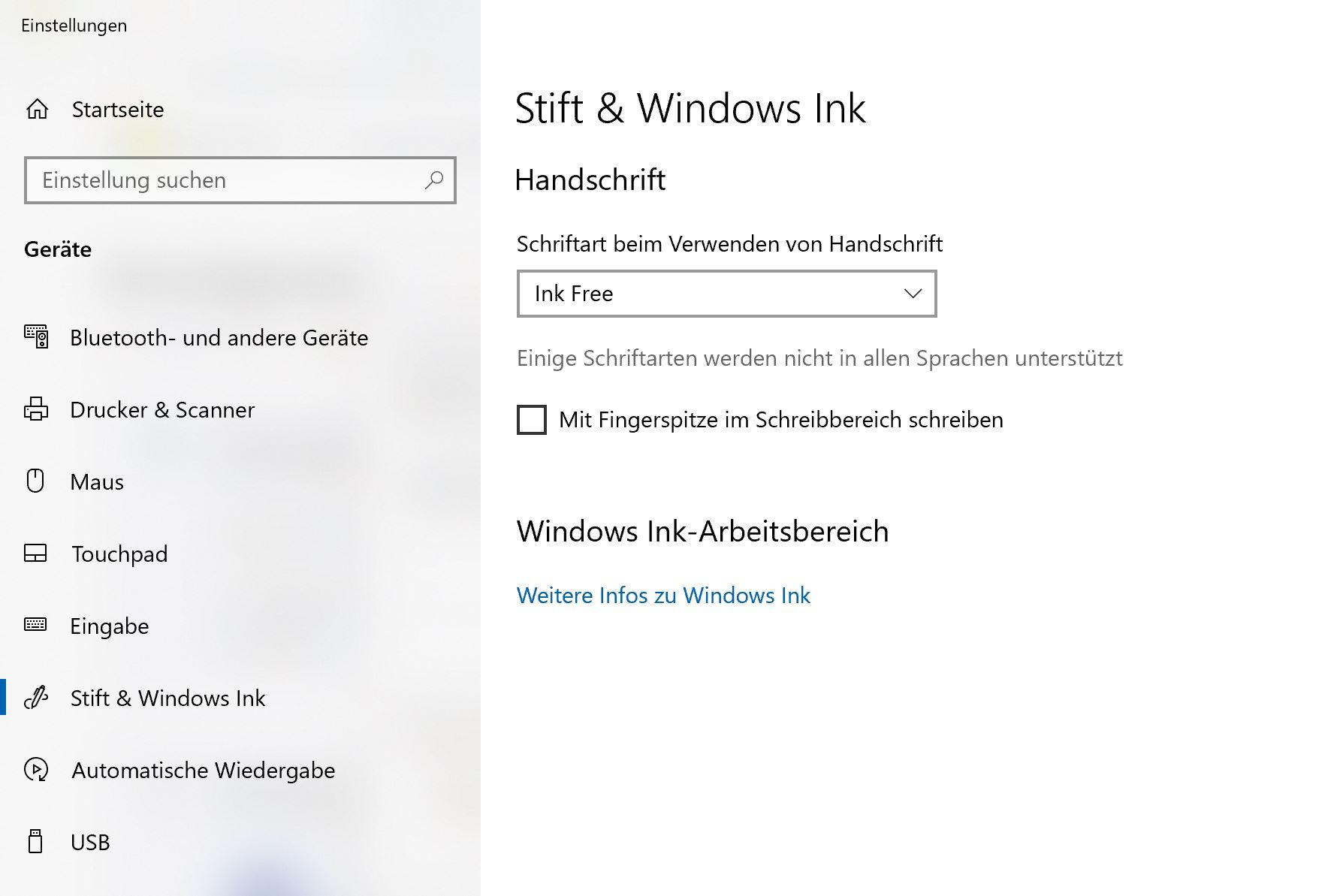 Stift & Windows Ink Einstellungen werden mir nicht korrekt angezeigt / Surface Pen...