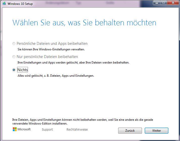 Windows 10 Upgrade, Auswahl