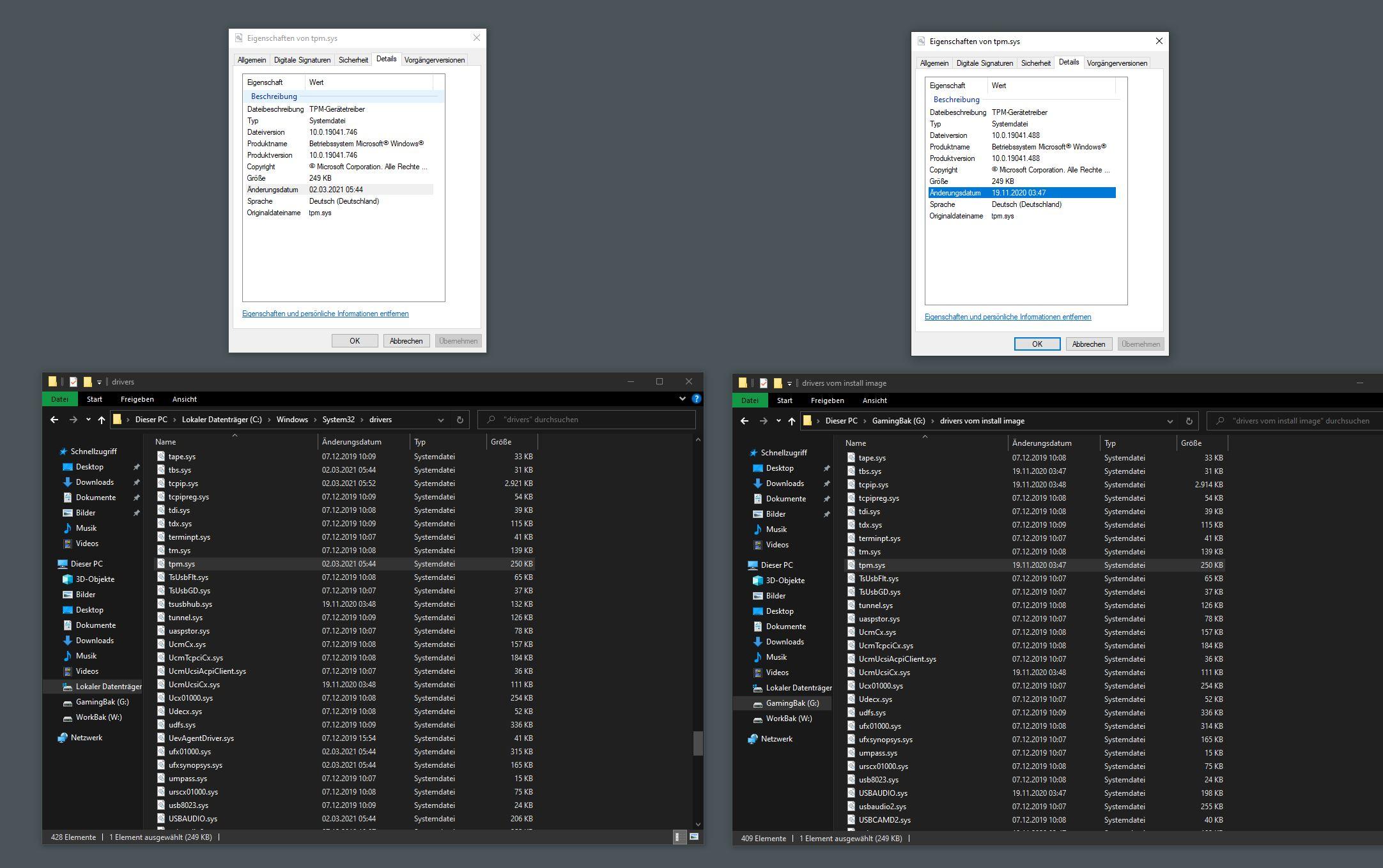 Warum ist mein Trusted Platform Module TPM treiber nach feature update nichtmehr codeinteger?