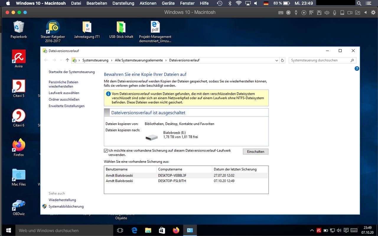 Warum kann ich eine alte Sicherung nicht auf meinem neu aufgesetzten Laptop...