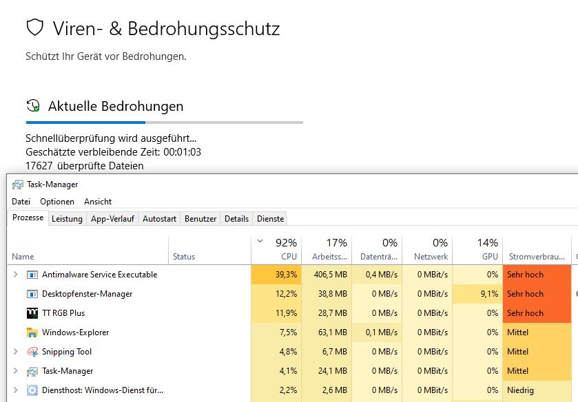 Spontan 100% CPU Auslastung durch Windows-Defender