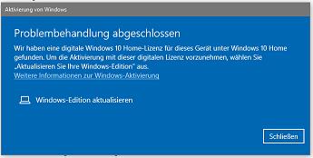 Windows 10  Lizenz-Reaktivierung