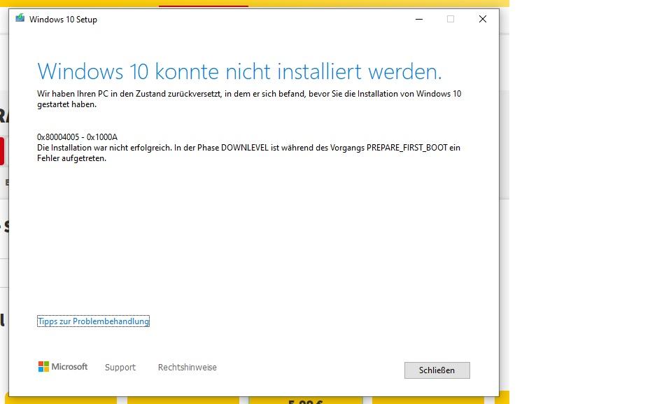 Windows Mai Update 2004 seit 6 Monaten nicht installierbar - immer 0x80004005