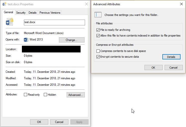 Verschlüsselte Dateien mit EFS
