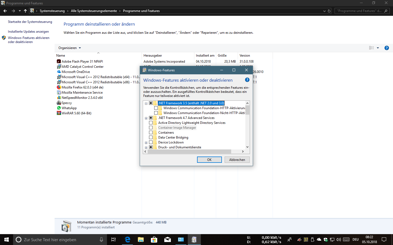 Ich konnte das NET Framework 3.5 nicht herunter laden