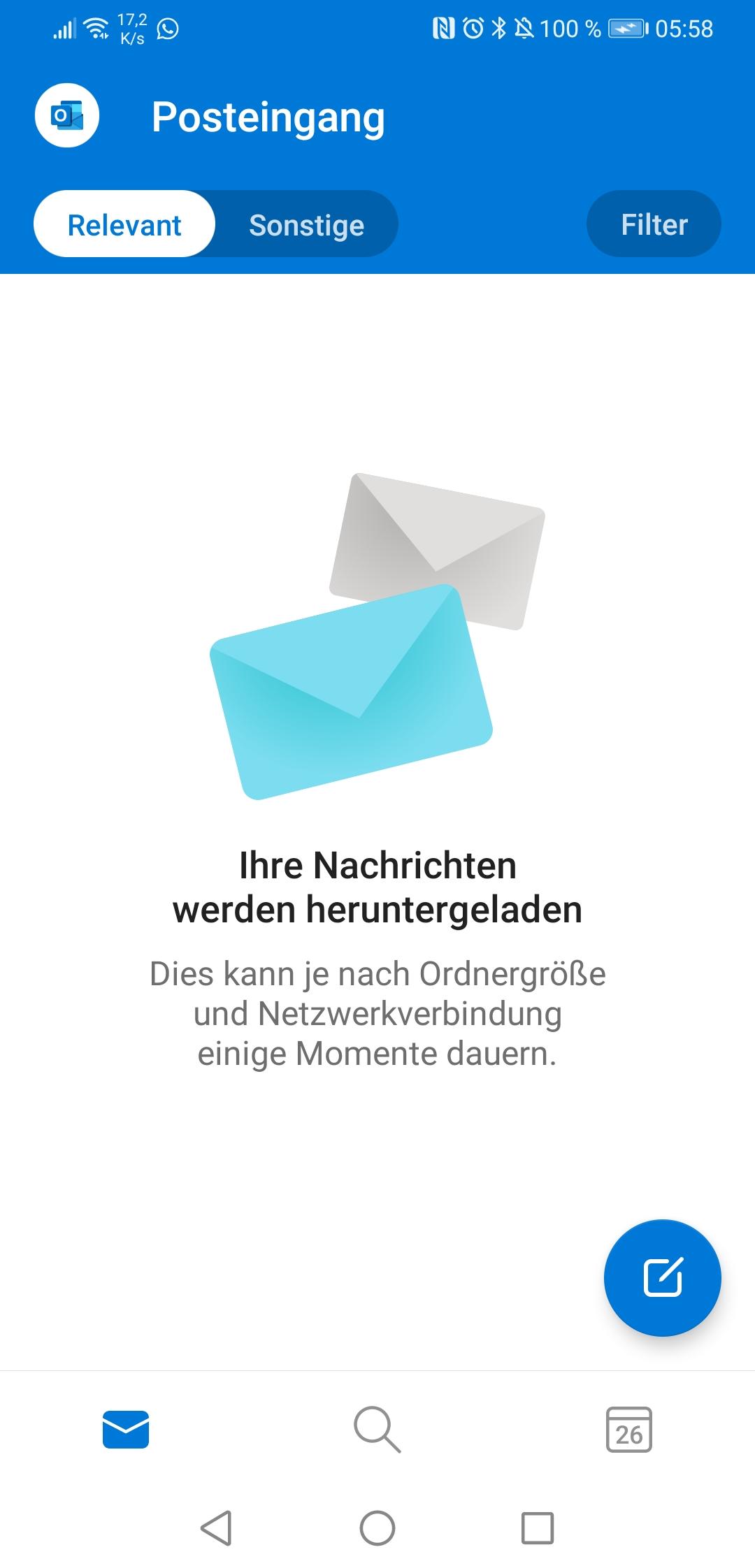 Outlook App Android synchronisiert nicht mehr/lädt keine Nachrichten mehr runter