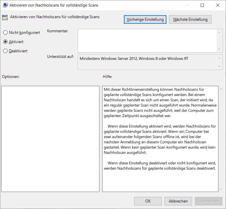 Windows Defender per Gruppenrichtlinien steuern funktioniert nicht