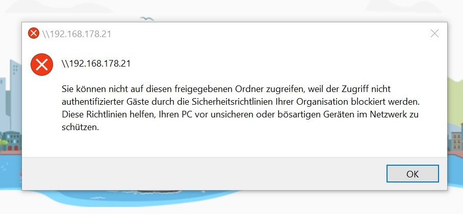 Kein Zugriff auf Netzwerklaufwerk über die IP. ... Nicht authentifizierter Gäste ... usw.