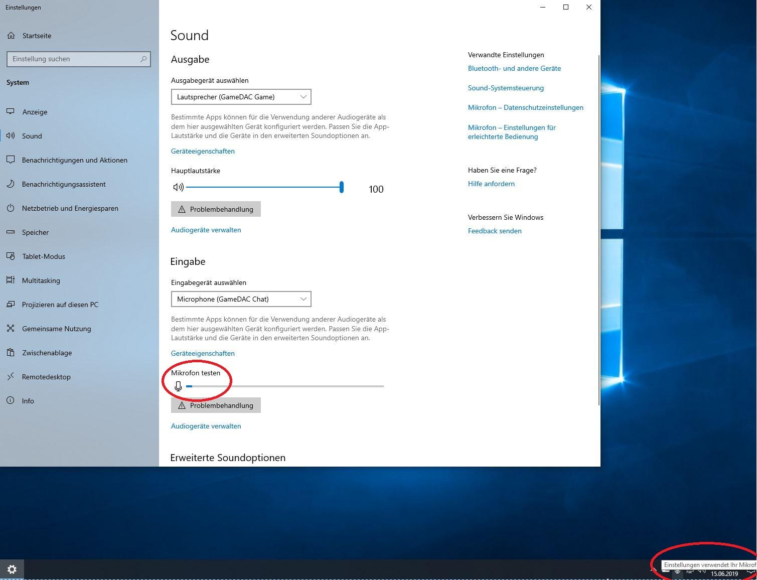 Discord aktiviert das Mikrofon nicht unter Windows 10 1903
