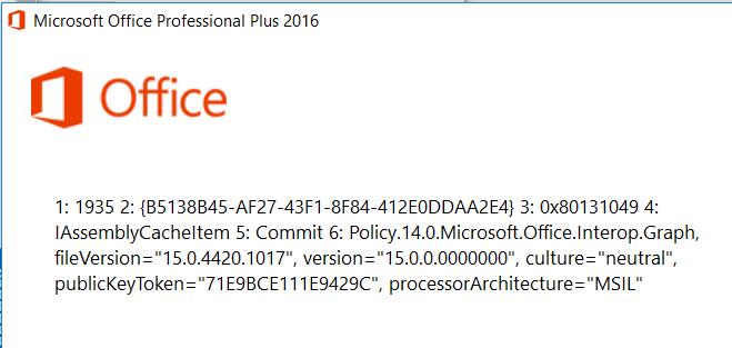 Installation von Office 2016 Fehler: 1935 2:.......